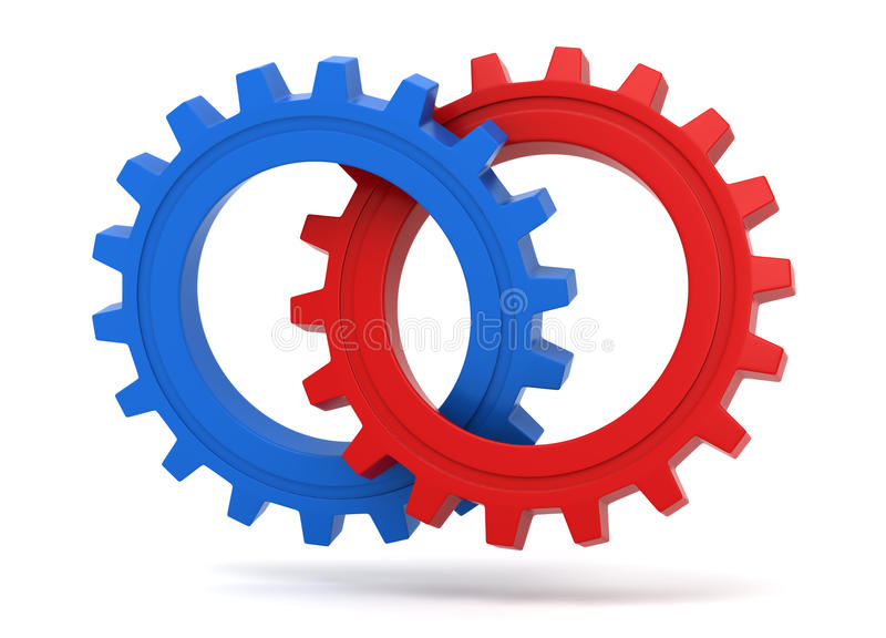 Download Red and blue gears icon stock illustration. Illustration of blue - 26236135