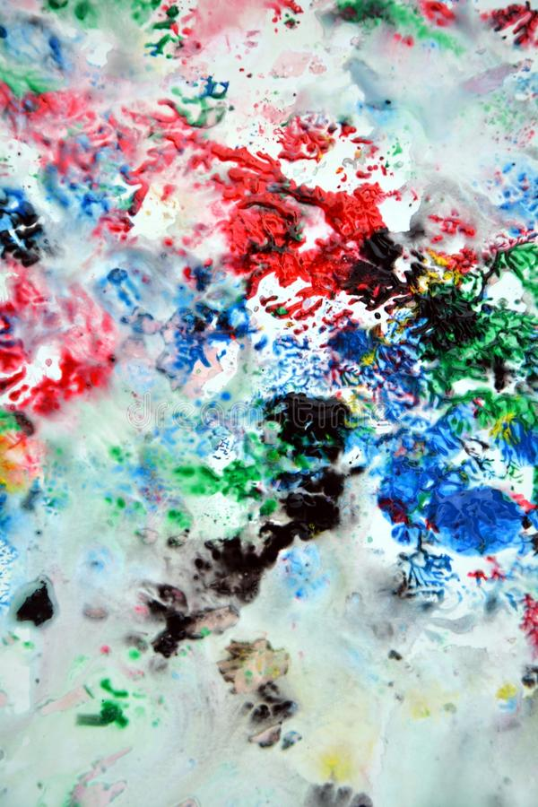 Sparkling red green black gray blue pink colors and hues. Abstract wet paint background. Painting spots. royalty free stock photos