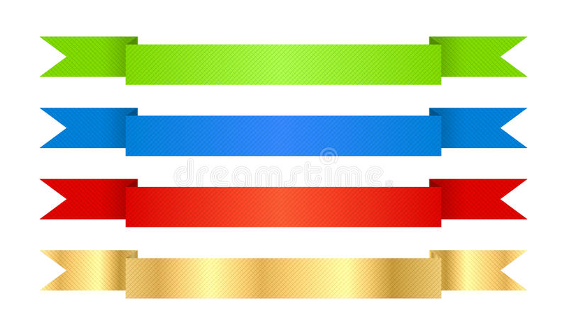 red blue green and gold vector ribbons with texture stock vector rh dreamstime com vector ribbon bow commercial use victor ribbons