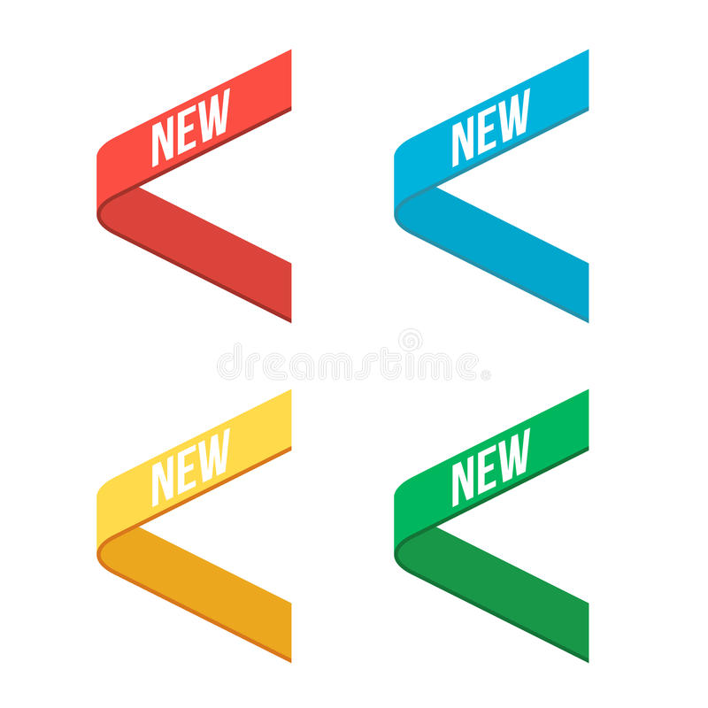 Red, Blue, Green, Yellow Side New Ribbons royalty free illustration