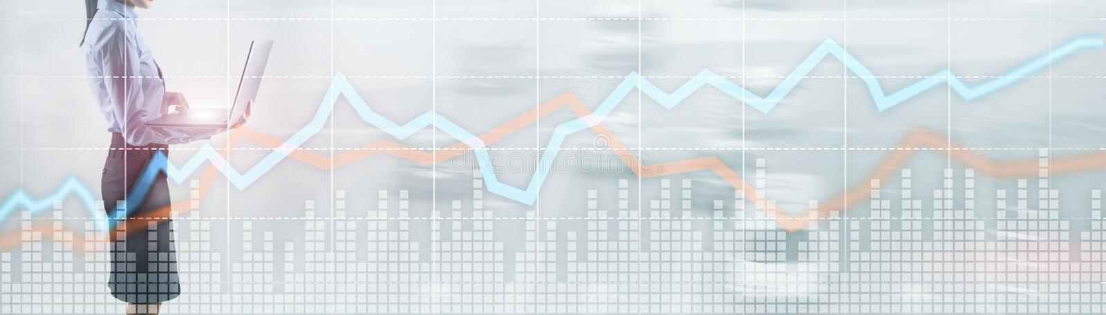 Red and blue growth chart. Concept of stock and exchange. royalty free stock photos