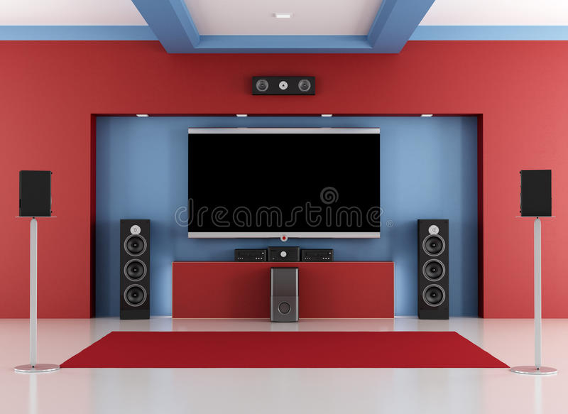 Download Red And Blue Home Cinema Room Stock Illustration - Image: 36546115