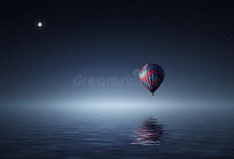 Red And Blue Hot Air Balloon Floating On Air On Body Of Water During Night Time Free Public Domain Cc0 Image