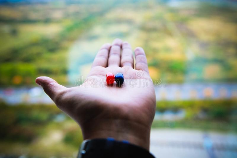 Red And Blue Jelly Beans On Person's Left Palm stock images