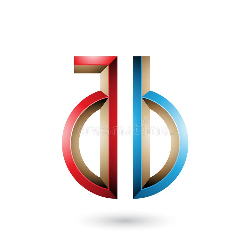 Red and Blue Key-like Symbol of Letters A and B isolated on a White Background. Vector Illustration of Red and Blue Key-like Symbol of Letters A and B isolated stock illustration