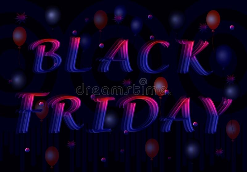 Red-blue letters in a 3D for inscription Black Friday. royalty free illustration