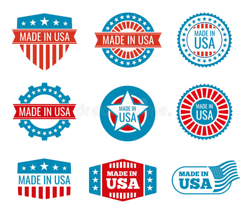 Red And Blue Made In The Usa Emblems Set Stock Vector Illustration