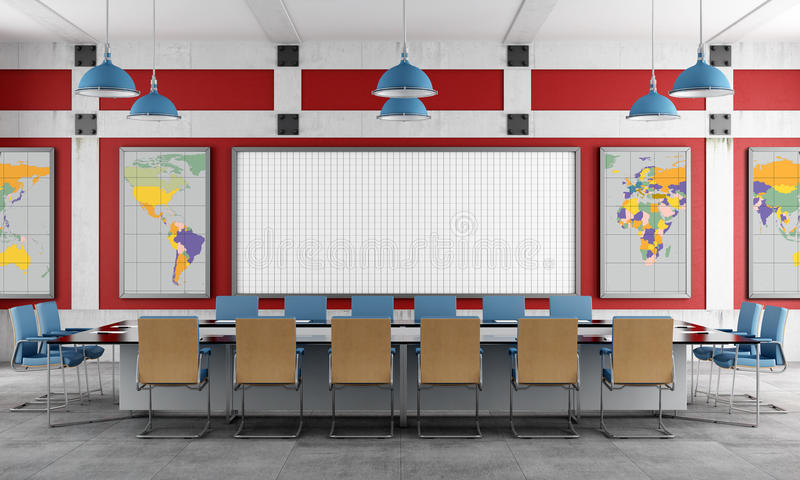 Download Red and blue Meeting room stock illustration. Image of business - 32230463