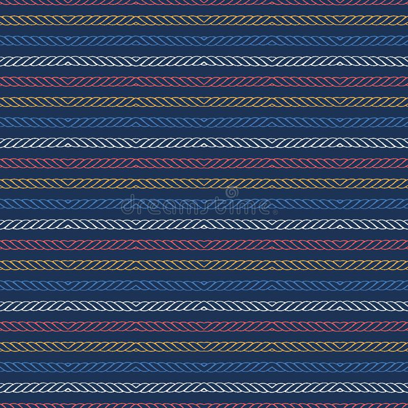 Red blue ocean regatta stripes seamless vector pattern. Hand drawn seaside rope lines. Aqua all over print for nautical textiles, vector illustration