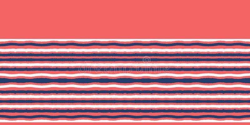 Red blue ocean regatta stripes seamless vector border pattern. Hand drawn seaside banner edging. Aqua nautical textiles, maritime. Red blue ocean stripes royalty free illustration