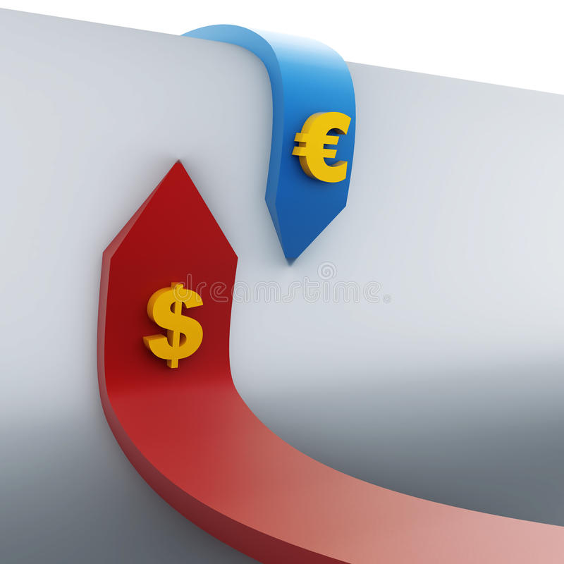 Red and blue the opposite direction. Of dollar and euro vector illustration