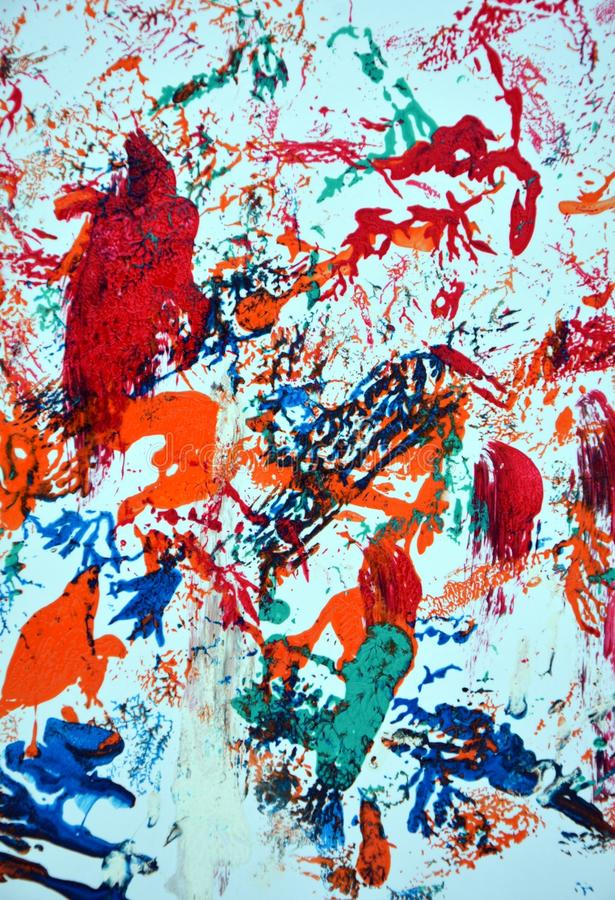 Red blue orange purple green pink paint spots, vivid background, painting abtract colors stock image