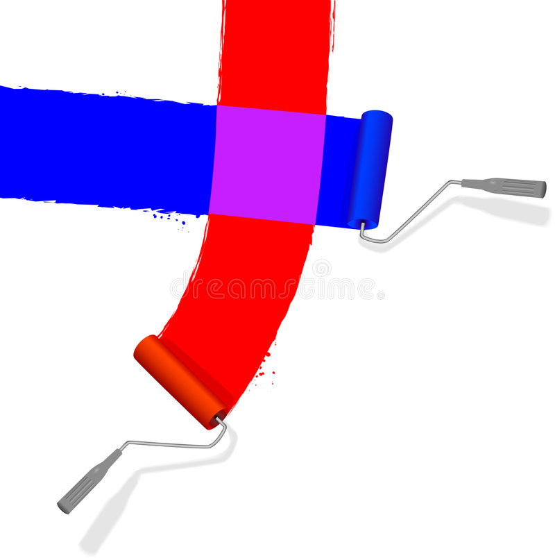 Red & Blue Paint Rollers Royalty Free Stock Photography