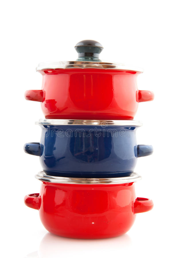 Download Red and blue pans stock photo. Image of vertical, cooking - 15689686