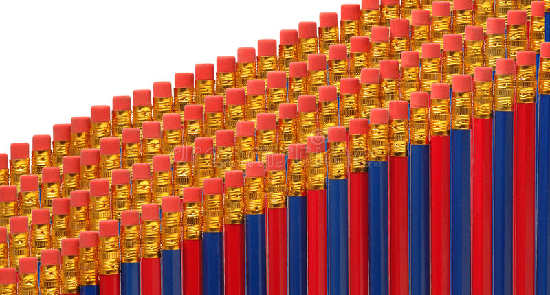 Red And Blue Pencils In Rows Royalty Free Stock Image