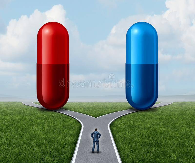 Red And Blue Pill Choice. As a person at a crossroad looking at medication capsules as a symbol of choosing between truth and illusion or knowledge or ignorance stock illustration