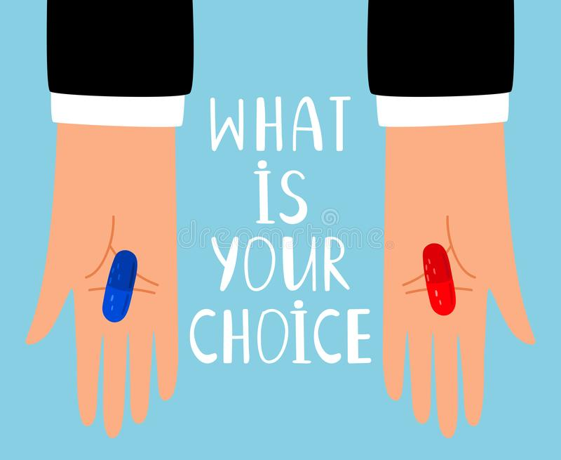 Red and blue pills choice royalty free illustration