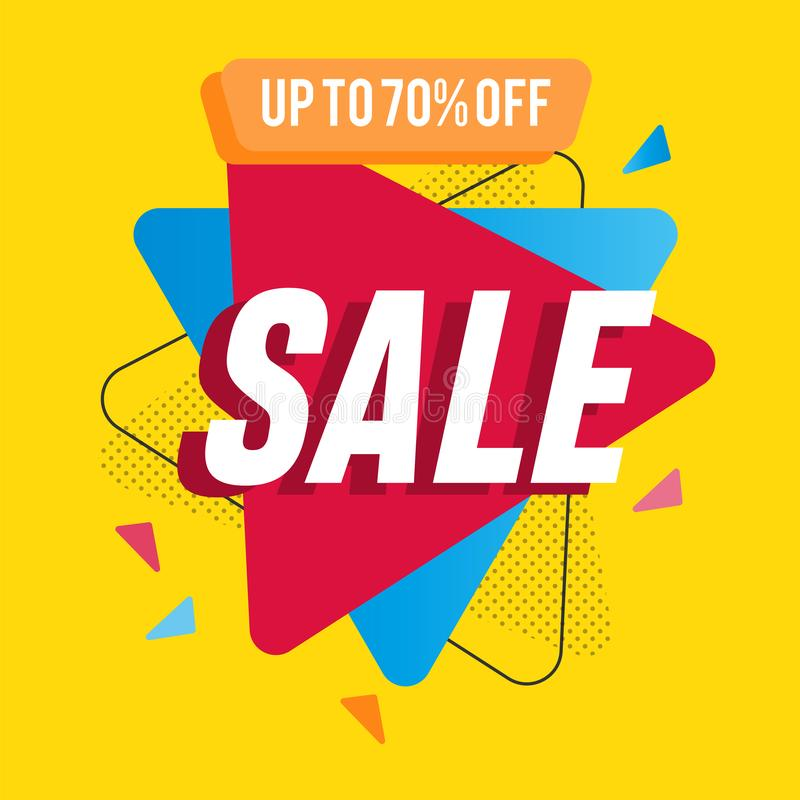 Red blue play arrows on yellow background. Minimalist 70% off Sale banner template design. Big sale special offer. Special offer royalty free illustration