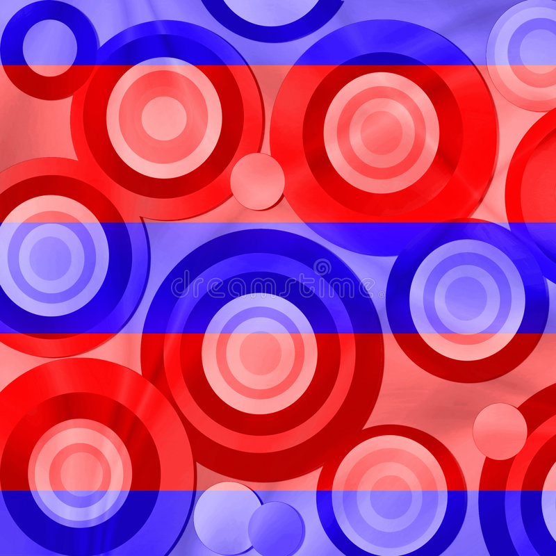Red and blue retro circles. Colorful retro style circles and stripes pattern in patriotic red white and blue vector illustration