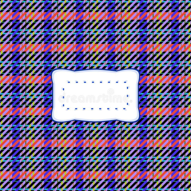 Red blue retro country checkered black yellow background with etiquette. Red blue retro country checkered black yellow background with cloth texture and clear vector illustration