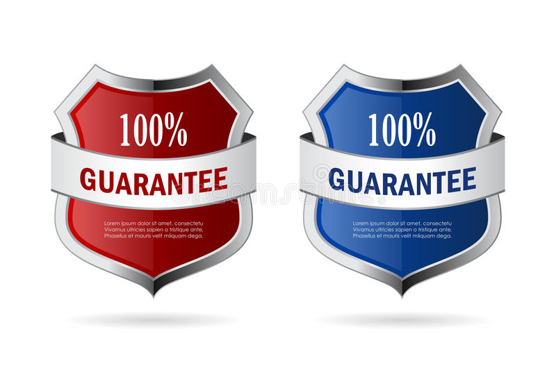Red and blue security shield vector icon royalty free illustration