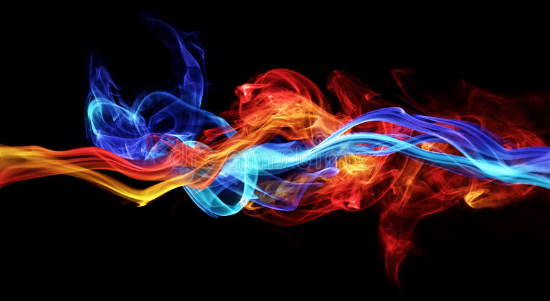 Red and blue smoke. On black