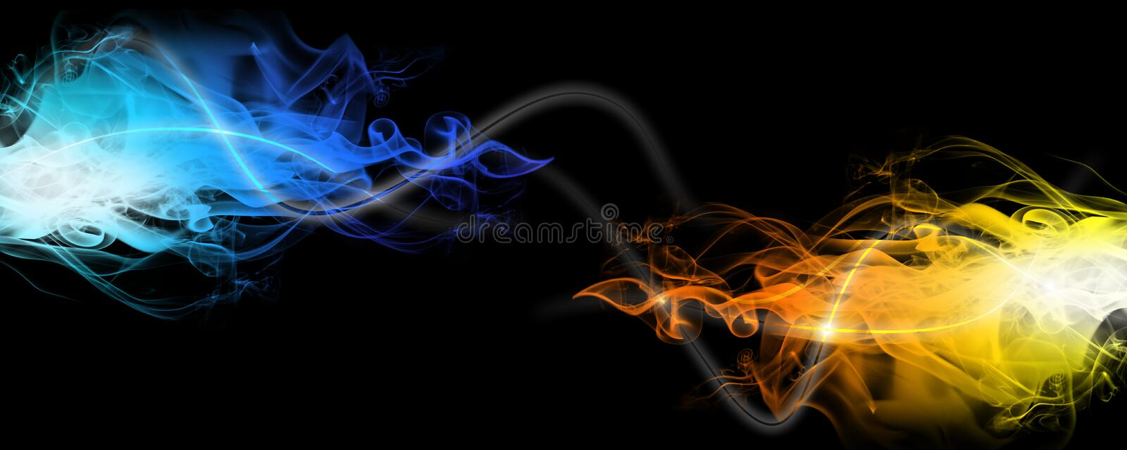 Red and blue smoke stock photography