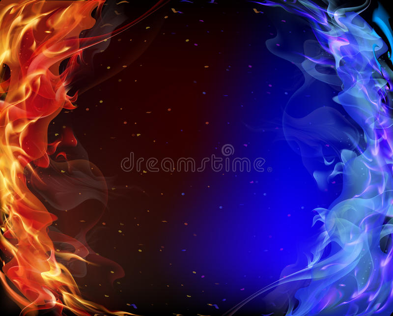 Red and blue smoke royalty free illustration