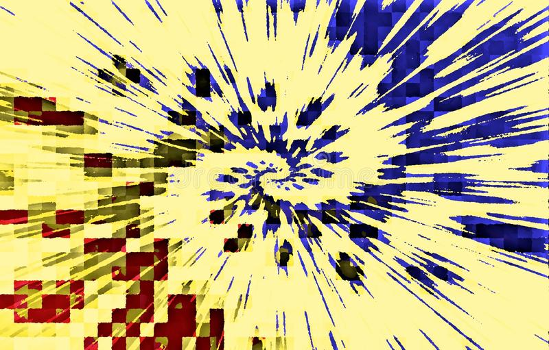 Red and blue spiral squares, rays and spots on a yellow background. royalty free stock photos