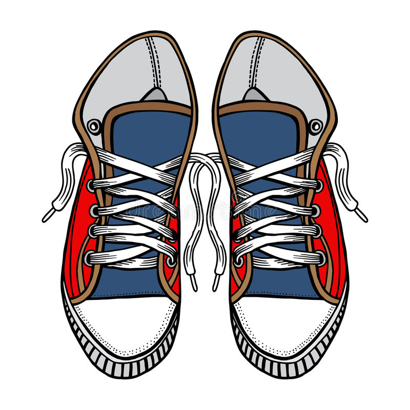 red and blue sports sneakers editorial image illustration of rh dreamstime com Shoe Vector Front View top view shoe vector
