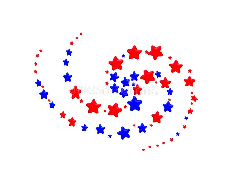 Red and Blue Stars in spiral pattern. On white background royalty free illustration