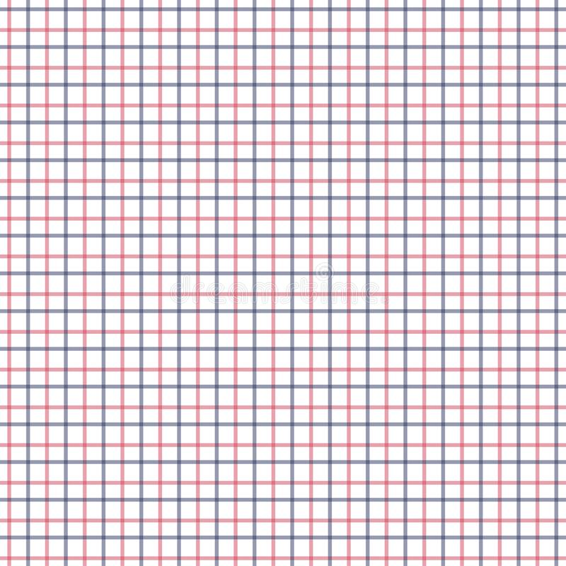 Red and Blue Tattersall Check Pattern. Men`s Shirt Fashion Textile Fabric. Repeating Tile Plaid Pattern stock illustration