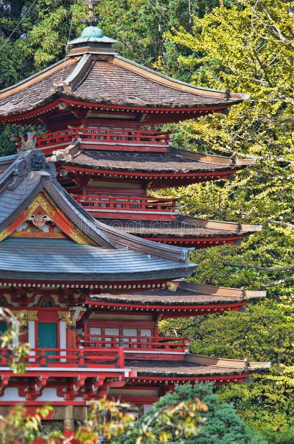 Red and Blue Temple Behind Green Leaf Trees at Daytime stock photo