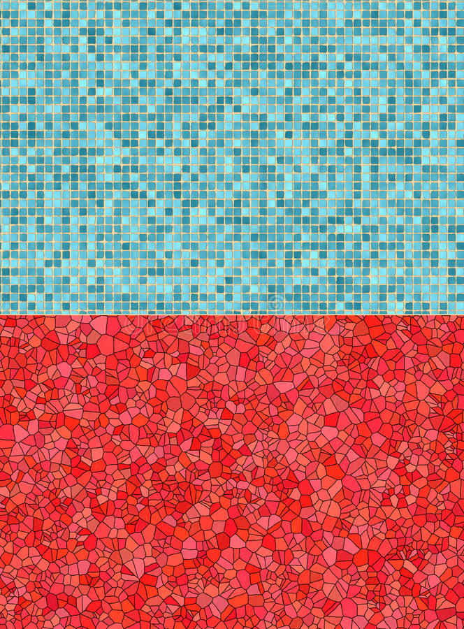 Red and blue tile backgrounds