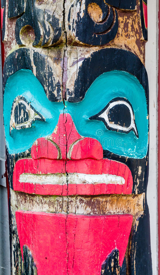 Red and Blue Totem. Old Red and Blue Totem stock image