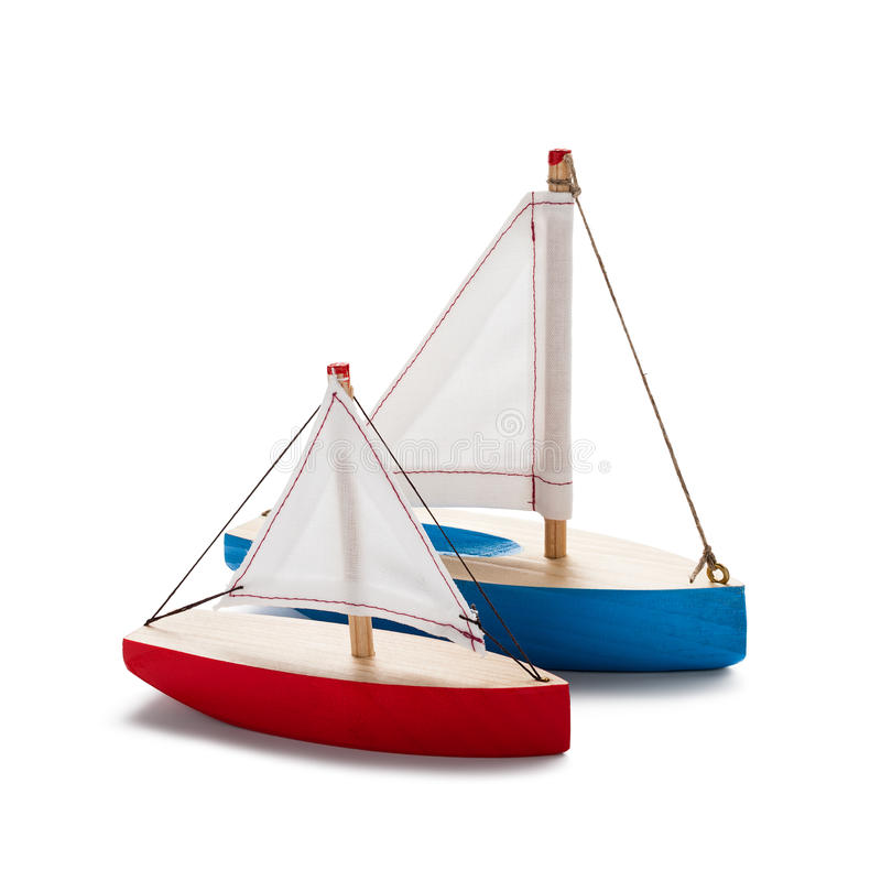 Red and blue toy sailboat. S, isolated on white stock photo
