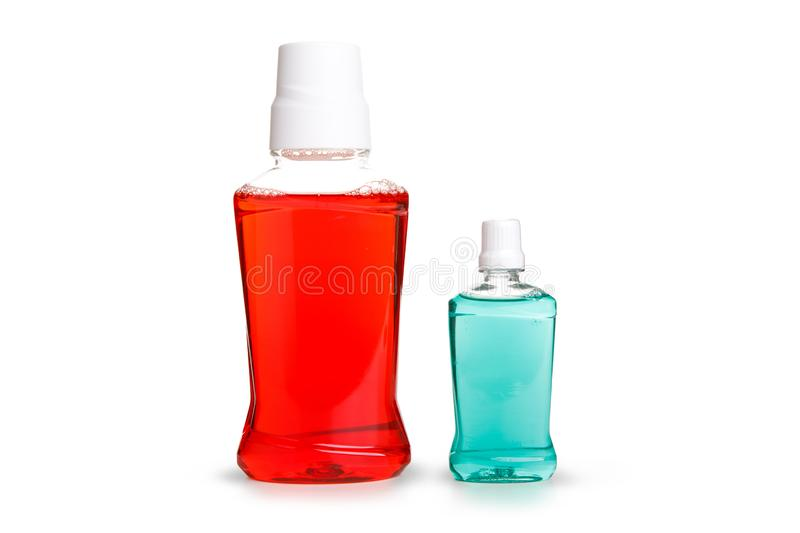 Red and Blue water mouth wash isolate on white background ,included clipping path royalty free stock photos