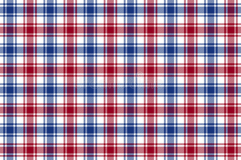 Red blue white check plaid texture seamless pattern background vector illustration