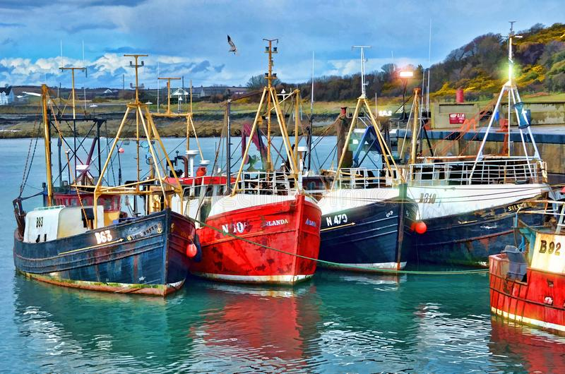 Red Blue and White Fishing Boats on Dock during Daytime stock images