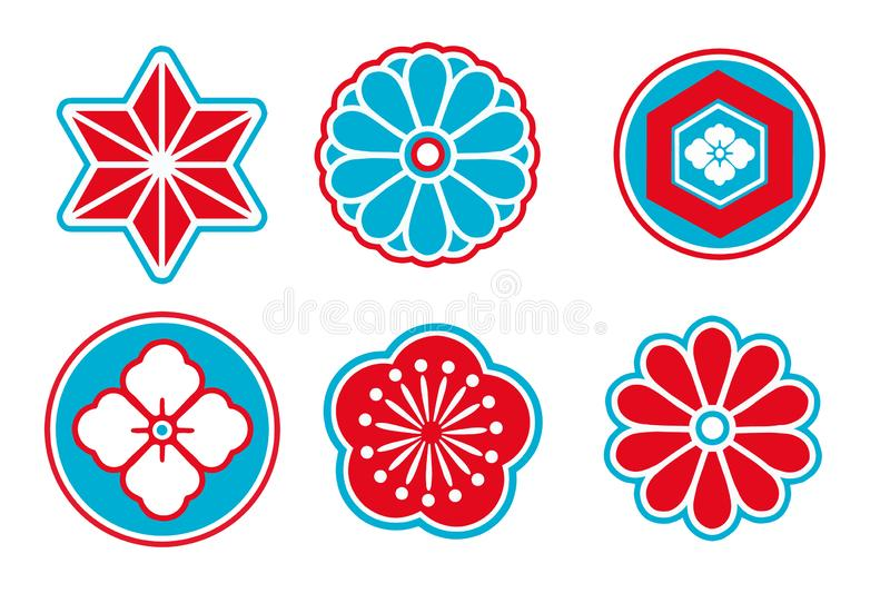 Red, blue and white traditional Japanese style ornamental flowers and geometrical shapes stock illustration