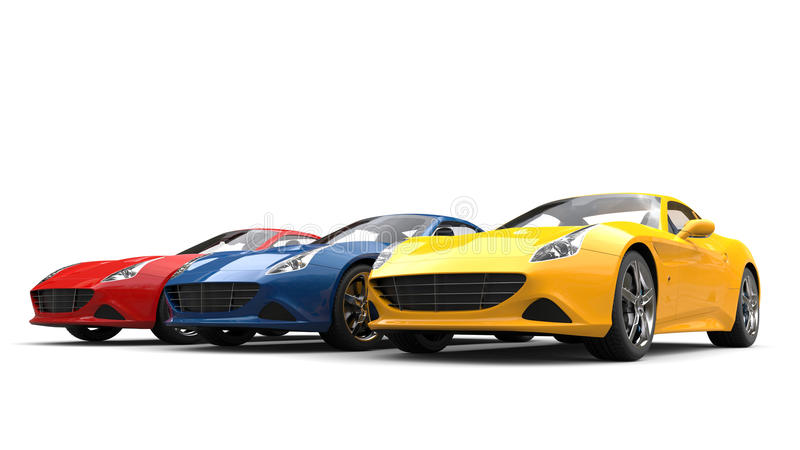 Red, Blue And Yellow Modern Luxury Sports Cars - Beauty Shot Stock