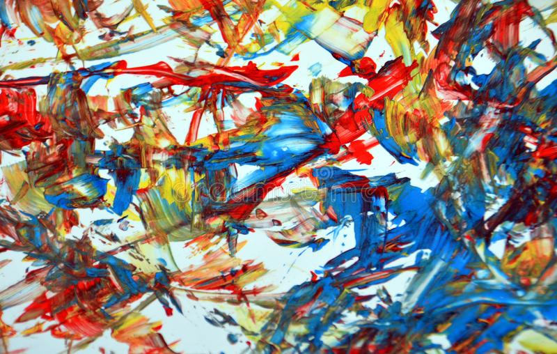 Red blue yellow phosphorescent white contrast watercolor paint acrylic abstract background, texture and strokes of brush. Abstract background in phosphorescent royalty free illustration
