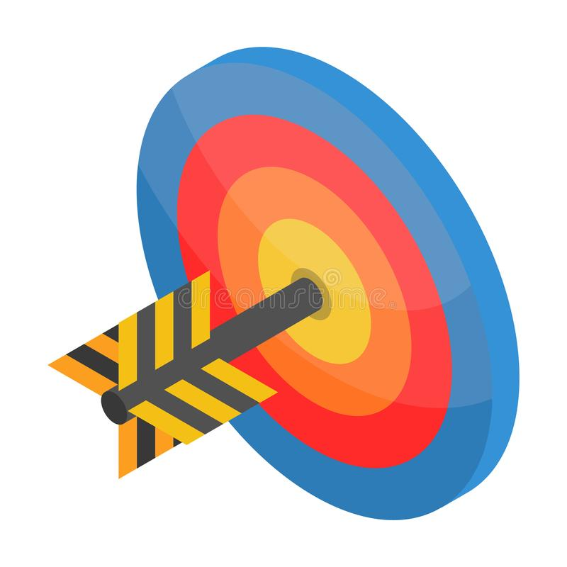 Red blue yellow target icon, isometric style vector illustration