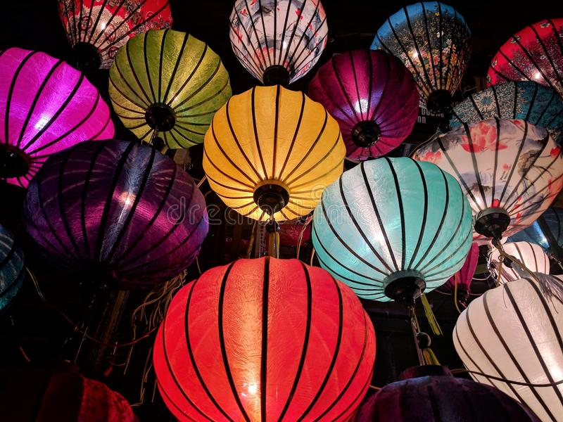 Red, Blue, Yellow, and White Sky Lantern Lot royalty free stock image