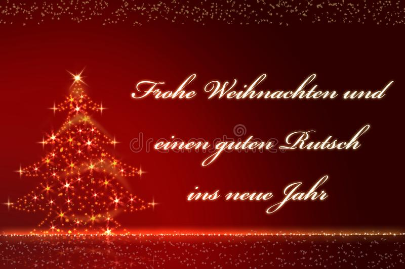 A red blurred background with golden snowflakes and the text Merry Christmas and a Happy New Year royalty free stock photos