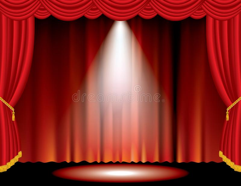 Red blurry and spot. Vector one spot on red curtain stage vector illustration