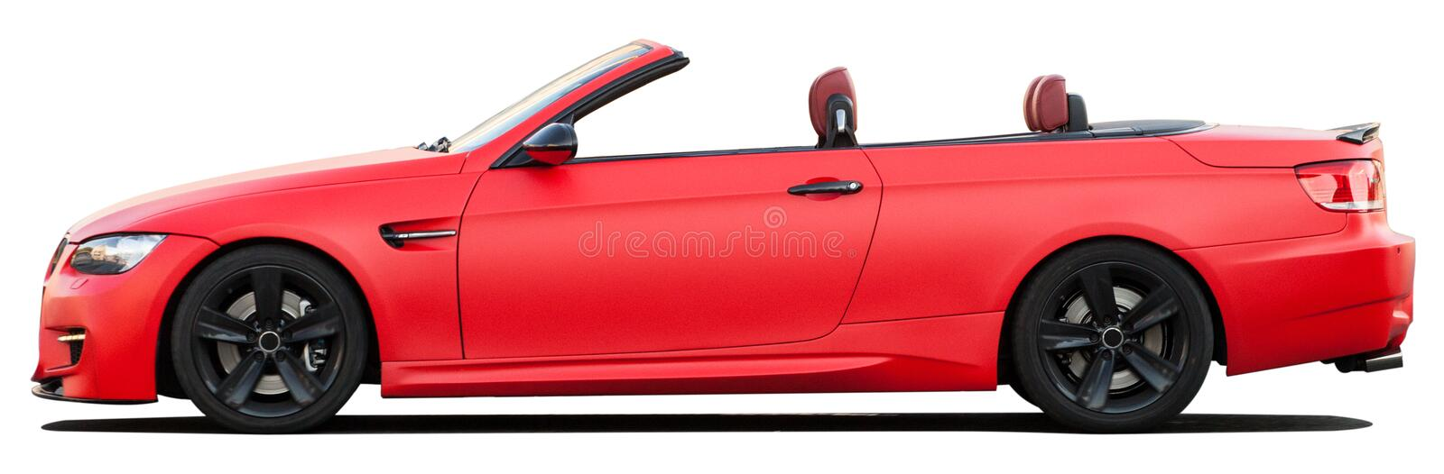 Red BMW convertible car on a transparent background stock photos