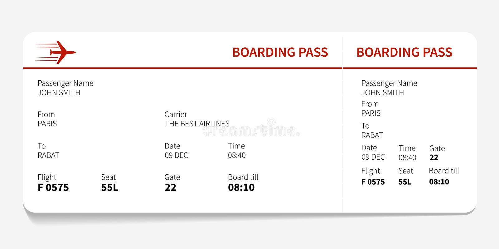 Download Red boarding pass stock vector. Image of airline, pass - 83717312