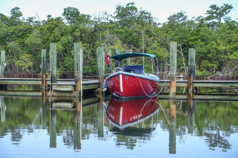 Red Boat Docked Florida royalty free stock images