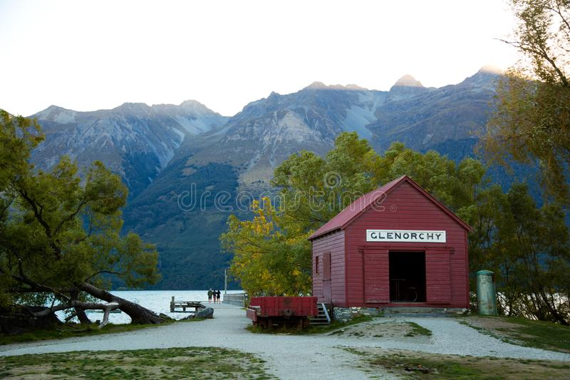 Red boat house at Glenorchy in New Zealand. Red boat house near Wakatipu lake at Glenorchy southern island in New Zealand stock photos